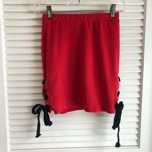 Dresses & Skirts - Red skirt with lace up sides
